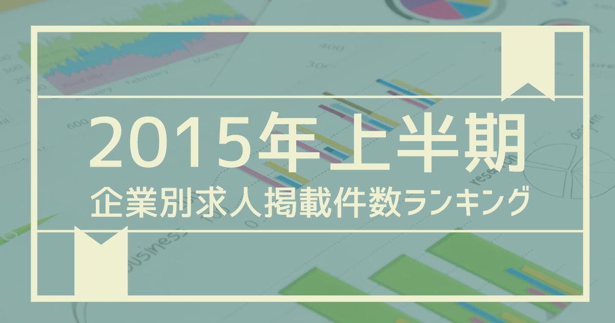 【2015年上半期】企業別、求人掲載件数ランキング!〜1位は三菱電機株式会社の377件〜