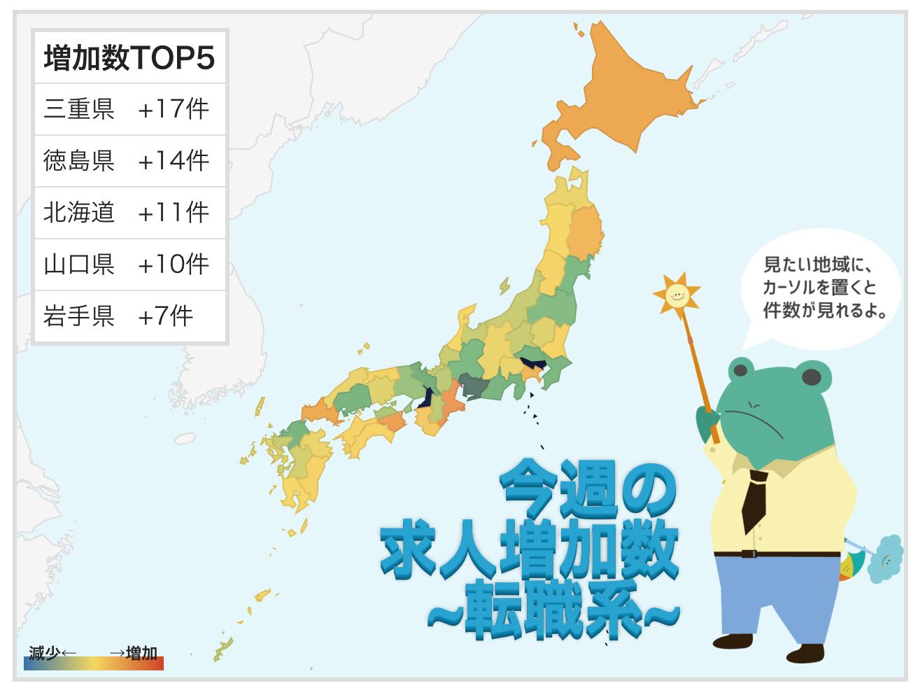 今週最も求人が増えたのは三重(+17件)、減ったのは東京(ー281件) - 都道府県別求人掲載件数 -