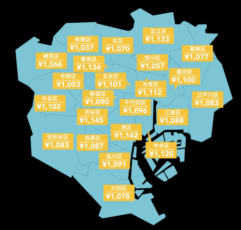 東京23区の平均時給ランキング〜1位は港区〜【2015年10月】