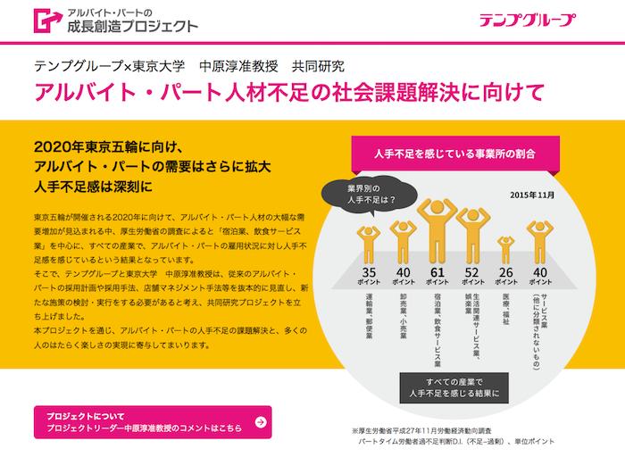 テンプグループと東京大学 中原淳准教授との共同研究プロジェクト「アルバイト・パートの成長創造プロジェクト」 研究成果を発表する特設サイトをオープン