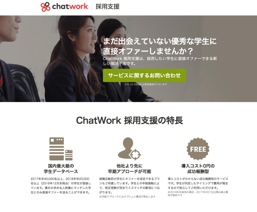 オファー型新卒採用「OfferBox」のi-plug と ChatWorkが業務提携。中小企業の新卒採用を導入コスト0円・成功報酬で支援『ChatWork採用支援』リリース
