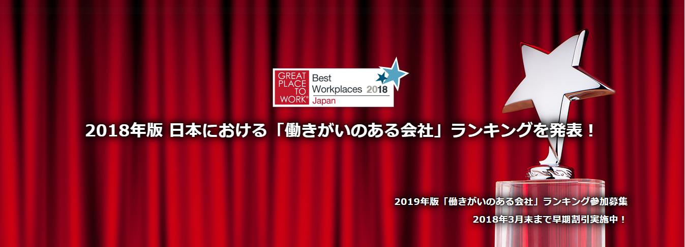 2018年版 日本における「働きがいのある会社」ランキング発表 ~2月27日に表彰式を開催~