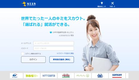 5年間で20万人が利用する 日本最大級 逆求人型就活サービス『キミスカ』 2020年卒向け、就活サービスを6月1日に開始! ~2018年8月までに2万名の学生登録数見込み~