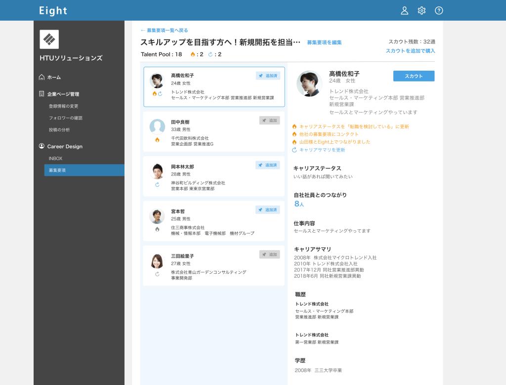 名刺管理サービス「Eight」がついに採用サービスを本格始動、月額5万円でダイレクトリクルーティング可能