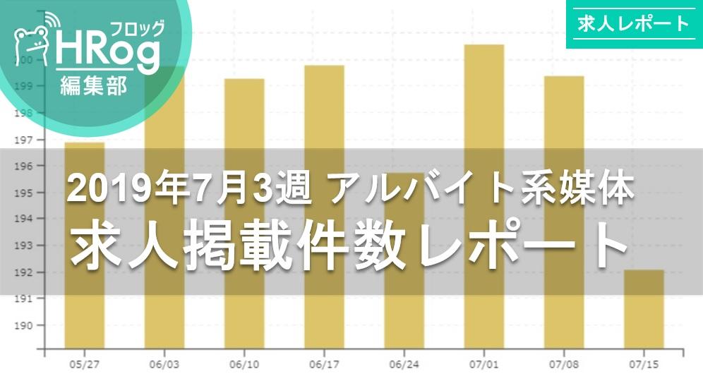 【2019年7月3週 アルバイト系媒体 求人掲載件数レポート】掲載件数は70,000件減。