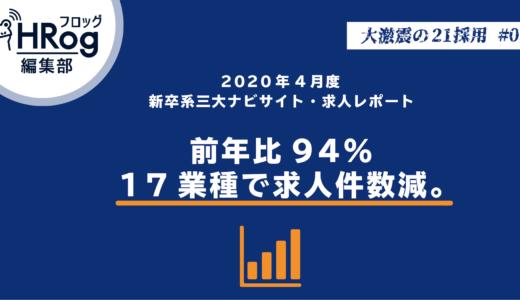 【大激震の21採用#05】2020年4月度新卒系三大ナビサイト・求人レポート 前年比94%・17業種で求人件数減。