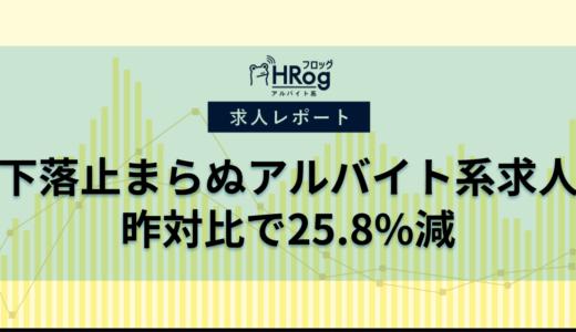 【2020年4月第3週 アルバイト系媒体 求人掲載件数レポート】下落止まらぬアルバイト系求人。昨対比で25.8%減