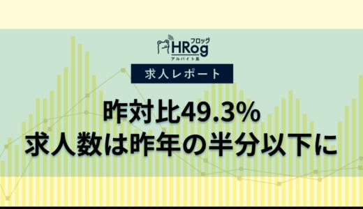 【2020年5月第4週 アルバイト系媒体 求人掲載件数レポート】昨対比49.3%、求人数は昨年の半分以下に
