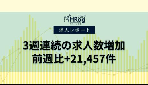 【2020年7月第3週 アルバイト系媒体 求人掲載件数レポート】3週連続の求人数増加、前週比+21,457件
