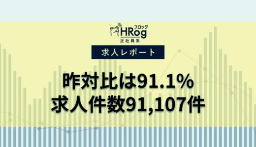 【2020年11月第2週 正社員系媒体 求人掲載件数レポート】昨対比は91.1%、求人件数91,107件