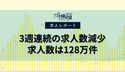 【2021年1月第1週 アルバイト系媒体 求人掲載件数レポート】3週連続の求人数減少、求人数は128万件
