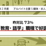 【2021年2月度】アルバイト系主要5媒体・求人レポート 昨対比73%・「教育・語学」職種で好調