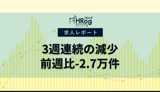 【2021年4月第3週 アルバイト系媒体 求人掲載件数レポート】3週連続の減少、前週比-2.7万件