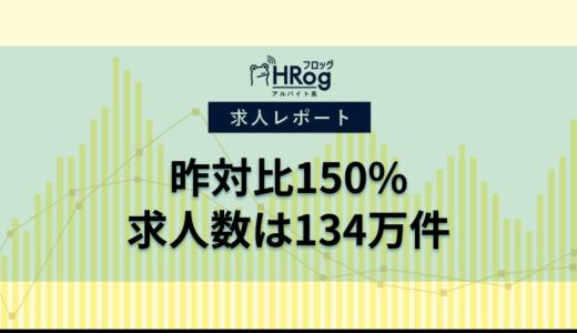 【2021年5月第3週 アルバイト系媒体 求人掲載件数レポート】昨対比150%、求人数は134万件