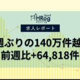【2021年6月第2週 アルバイト系媒体 求人掲載件数レポート】7週ぶりの140万件越え、前週比+64,818件