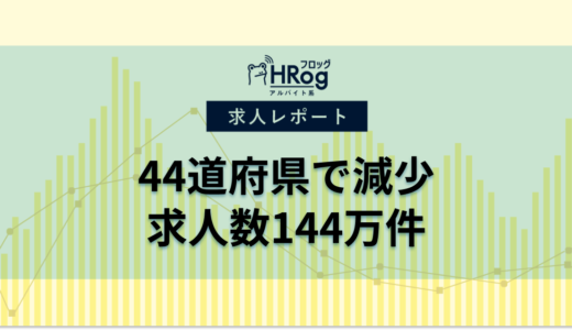 【2021年7月第4週 アルバイト系媒体 求人掲載件数レポート】44道府県で減少、求人数144万件