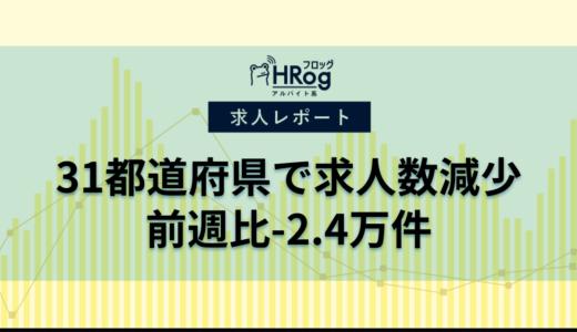 【2021年8月第2週 アルバイト系媒体 求人掲載件数レポート】31都道府県で求人数減少、前週比-2.4万件