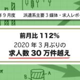 【2021年9月度】派遣系主要3媒体・求人レポート 前月比112%・2020年3月ぶりの求人数30万件越え